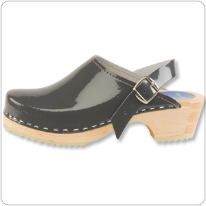 Grey Patent Clog By Cape Clog