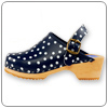 Navy Polka Clog By Cape Clog